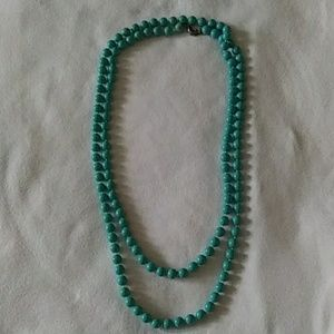 80s Style Sea Green Beaded Necklace